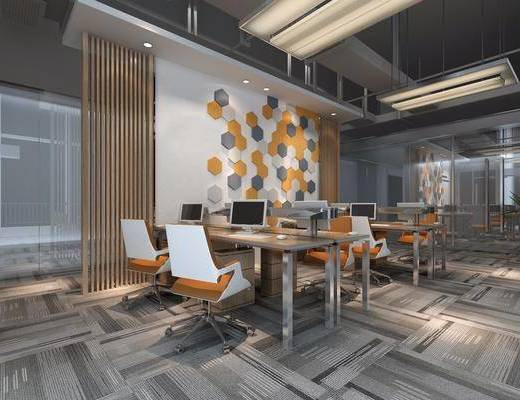 辦公區, 辦公桌, 辦公椅, 單人椅, 電腦桌, 盆栽, 綠植植物, 現代