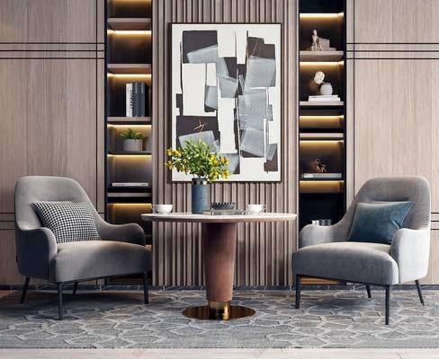 沙发椅, 休闲椅, 边几, 装饰画, 书柜, 书籍