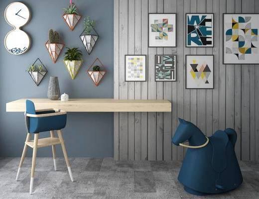 吧椅, 木马, 吧台, 北欧吧椅吧台木马组合3d模型, 墙饰, 摆件组合, 植物