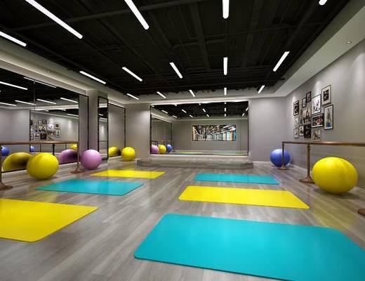 健身房, 健身会所, 瑜伽室, 瑜伽房, 现代