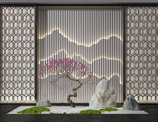 花格假山, 园艺小品, 绿植小品, 新中式