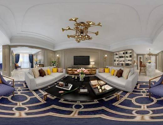 客厅, 沙发组合, 沙发茶几组合, 吊灯, 多人沙发, 电视柜, 休闲沙发, 吧台, 吧椅, 后现代, 现代