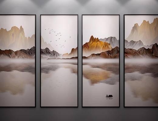 中式挂画, 中式山水画, 中式装饰画, 中式水墨画