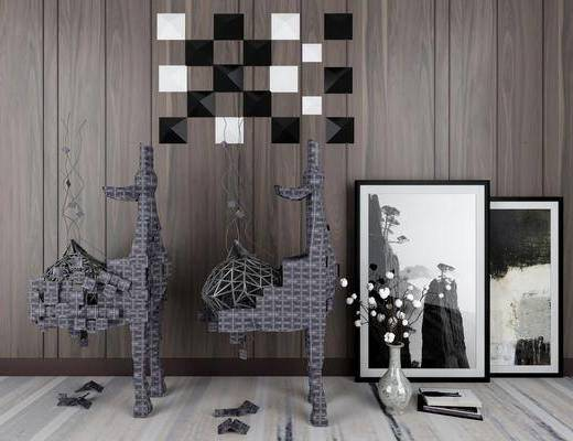 摆件组合, 装饰画, 墙饰, 现代