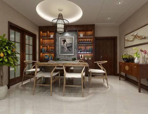 中式餐厅, 餐桌椅组合, 中式吊灯, 酒柜, 置物柜, 案几, 趟门