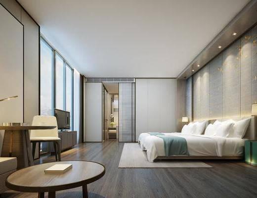 现代, 酒店, 客房, 双人床