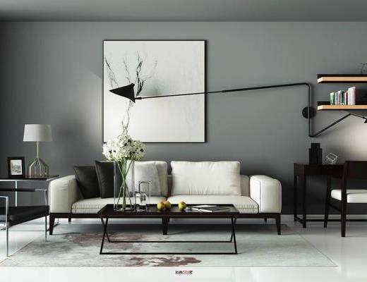 沙发组合, 现代沙发组合, 茶几, 挂画, 单椅, 摆件, 案几, 台灯, 书桌, 椅子, 桌椅组合, 书架, 书籍, 装饰品, 现代, 双十一