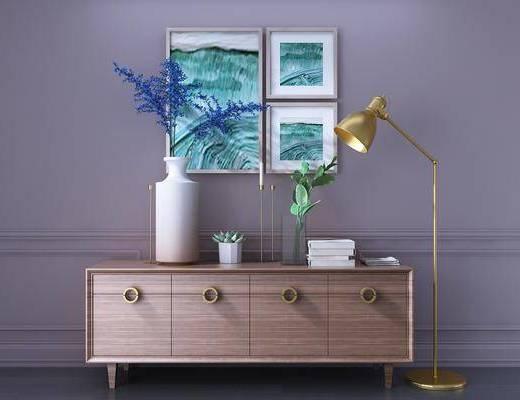 装饰柜, 边柜, 电视柜, 落地灯, 装饰画, 挂画, 照片墙, 摆件, 装饰品, 陈设品, 北欧