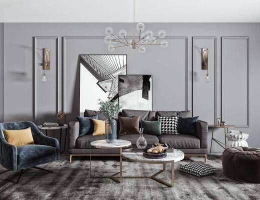 布艺沙发, 吊灯, 单人沙发, 茶几, 单椅, 壁灯