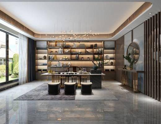 新中式茶室, 茶室, 茶桌椅
