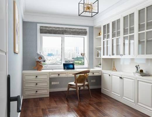 书房, 桌椅组合, 装饰柜, 摆件组合, 吊灯, 书籍, 简美
