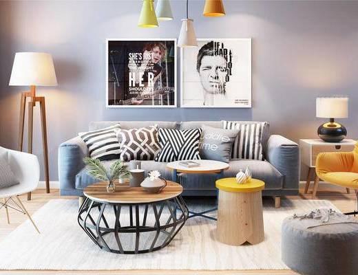 沙发茶几组合, 吊灯, 植物盆栽, 落地灯, 北欧