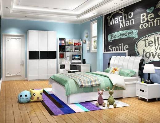 单人床, 衣柜, 背景墙, 桌椅组合, 床头柜, 台灯