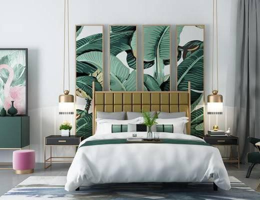 北欧卧室, 床, 床头柜组合, 装饰画