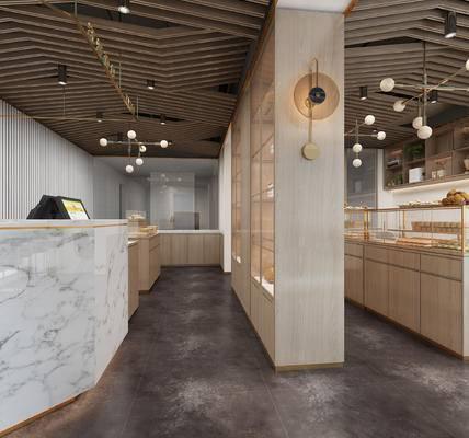 面包店, 展柜, 吊灯, 收银台