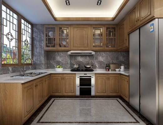 中式, 厨房, 厨具, 冰箱, 橱柜