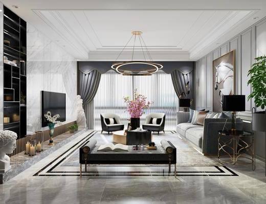 簡歐客廳, 客廳, 沙發組合