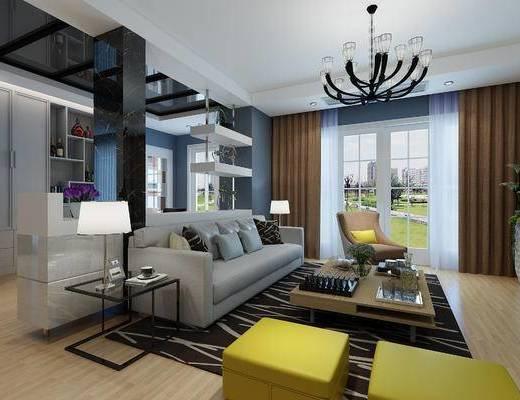 现代客餐厅, 现代沙发组合, 茶几, 装饰架, 案几, 台灯