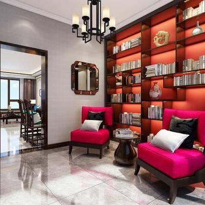 书房, 沙发椅, 书架, 书籍, 吊灯, 中式