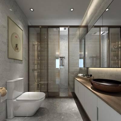 卫生间, 现代卫生间, 现代风格卫生间, 洗手盆, 马桶, 花洒