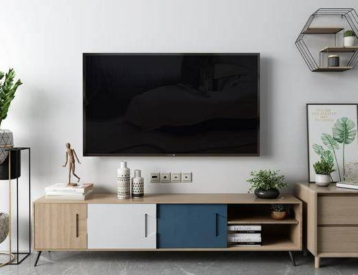 盆栽, 摆件组合, 电视柜