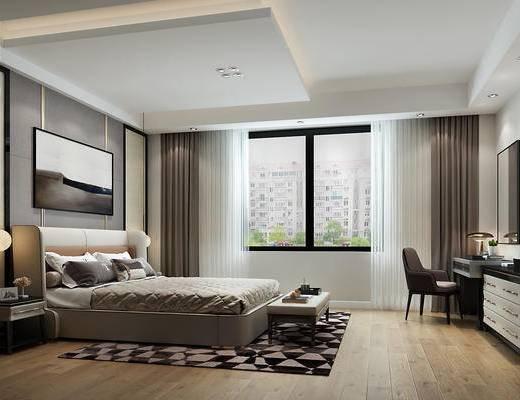 卧室, 现代卧室, 床尾凳, 梳妆台, 吊灯, 床