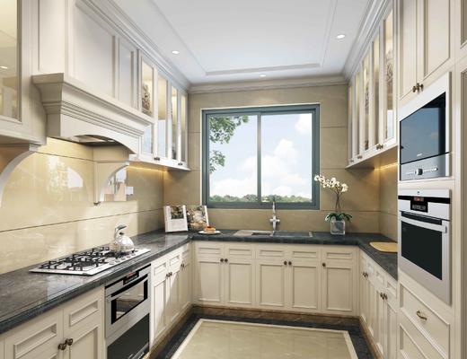 厨房, 欧式厨房, 厨具, 烤箱, 橱柜