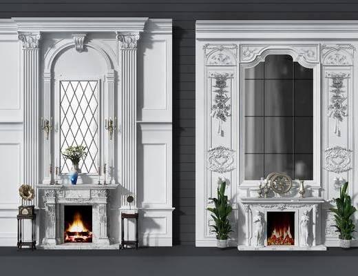 背景墻, 壁爐, 盆栽組合, 綠植植物, 歐式