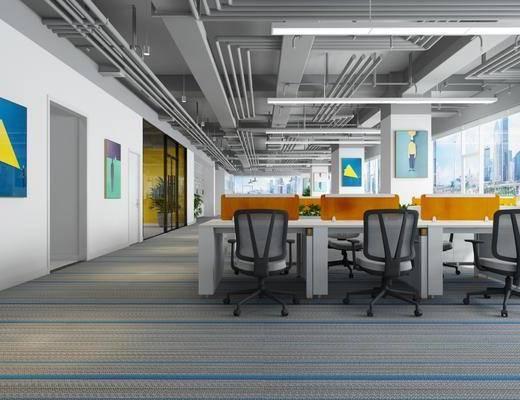办公室, 休息区, 办公桌椅组合, 盆栽, 绿植植物, 电脑桌椅组合, 吊灯组合, 现代