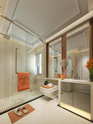 现代, 中式, 卫生间, 淋浴间, 浴室柜