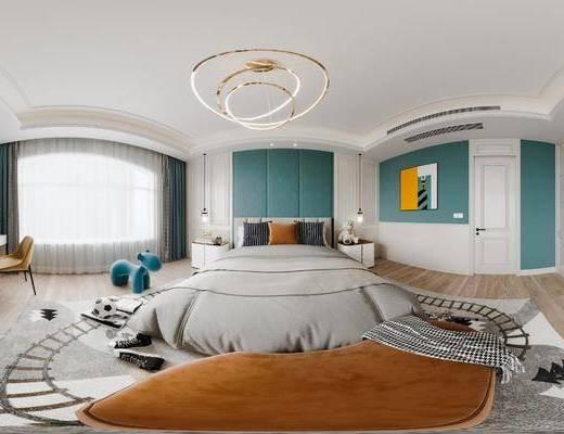 现代卧室, 床, 吊灯, 书柜