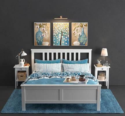 单人床, 床头柜, 台灯, 装饰画, 床具组合