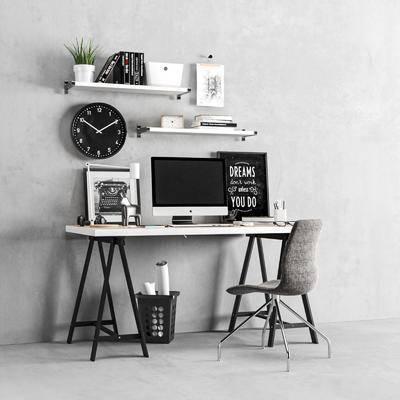 现代办公桌, 墙饰, 办公椅