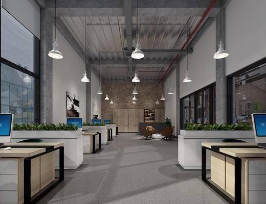 经理室, 办公区, 办公桌, 吊灯, 电脑桌, 装饰画, 挂画, 单人沙发, 茶几, 绿植植物, 现代