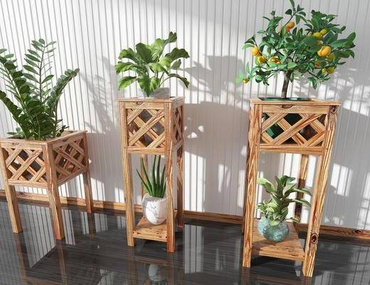 木质花架, 盆栽组合, 绿植植物, 盆栽, 现代