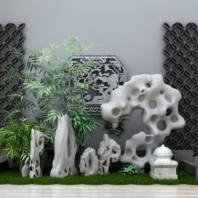 园艺, 造型墙, 竹子, 现代