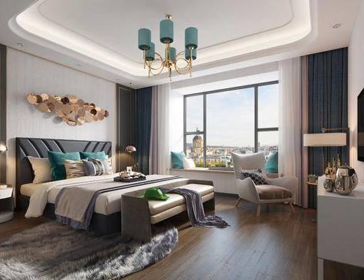 现代简约主卧室, 现代, 卧室, 床, 椅子, 现代吊灯, 床头柜