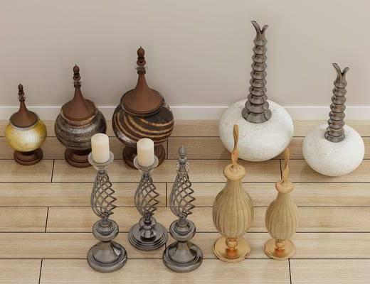 摆件组合, 陶瓷器皿, 装饰品, 陈设品, 现代