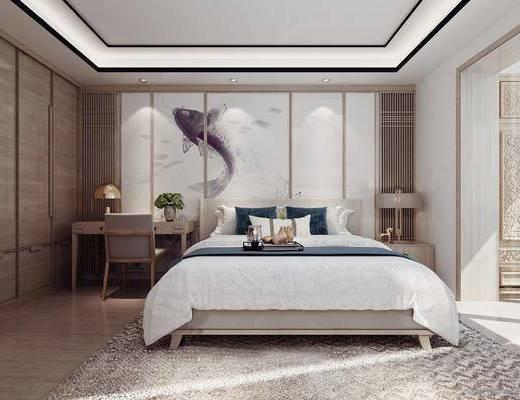 双人床, 床具组合, 背景墙, 桌椅组合
