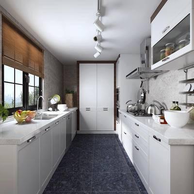 现代厨房, 厨房, 冰箱, 橱柜, 餐具