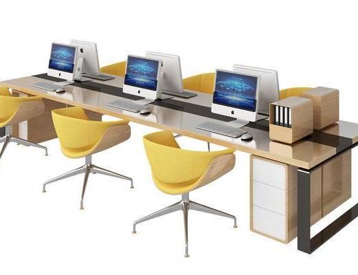 现代, 办公桌, 办公椅, 椅子, 书架, 书籍, 书本, 单椅, 柜子