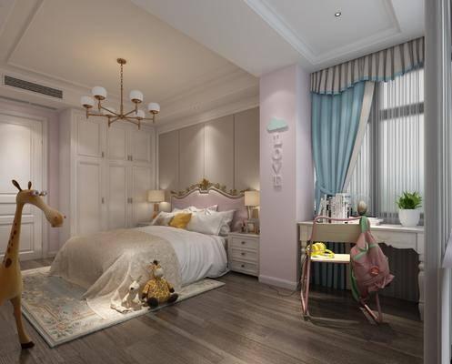 女孩房, 臥室, 床具組合, 桌椅組合, 現代