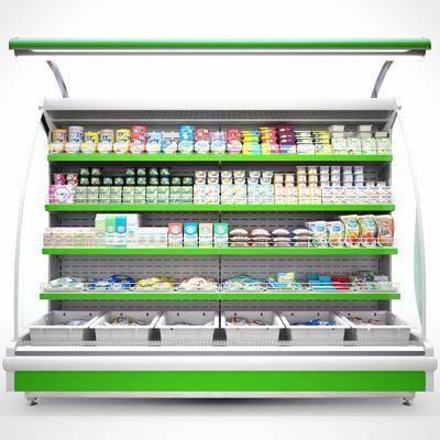 现代超市冰柜货架食物组合, 冰箱, 冰柜, 食物, 冰淇淋, 现代