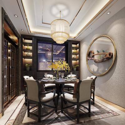 新中式餐厅, 新中式, 餐厅, 餐桌椅, 吊灯