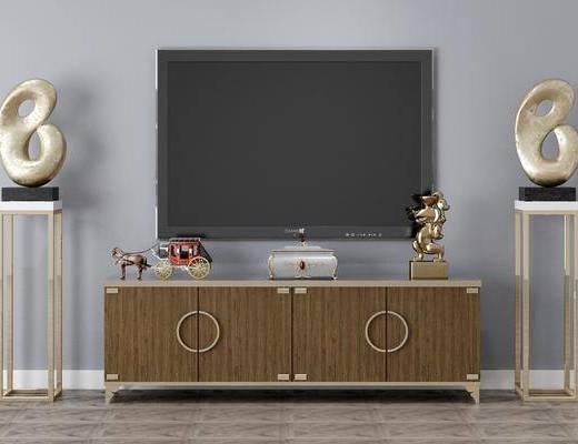 电视柜, 装饰物, 摆件组合
