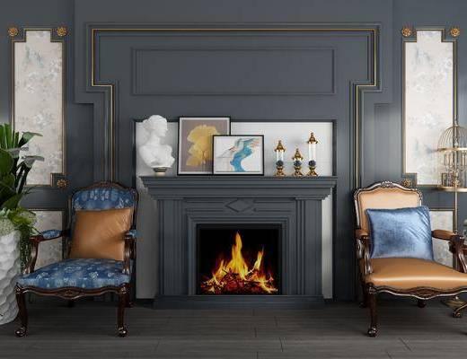 背景墙, 壁炉, 单人椅, 盆景组合, 摆件, 装饰品, 陈设品, 欧式