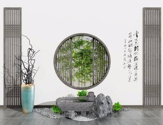 景观组合, 摆件组合, 花瓶, 干树枝, 石头, 竹子, 新中式
