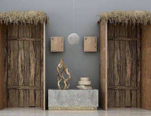 摆件组合, 平开门, 墙饰, 吊灯, 中式