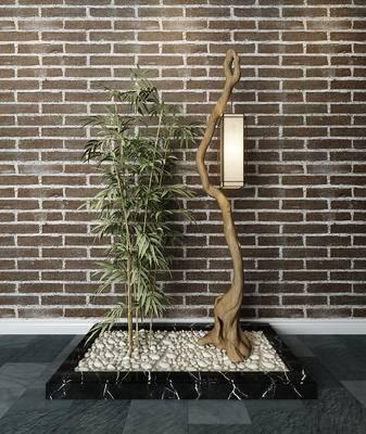 新中式, 树枝, 干支, 竹子, 鹅蛋石