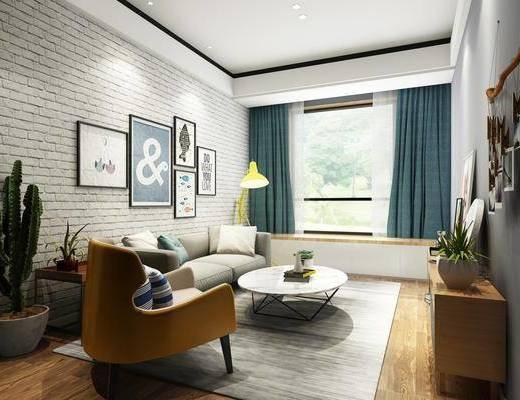 客厅, 多人沙发, 茶几, 单人沙发, 盆栽, 电视柜, 装饰柜, 边柜, 落地灯, 墙饰, 装饰画, 挂画, 摆件, 装饰品, 陈设品, 照片墙, 北欧简约